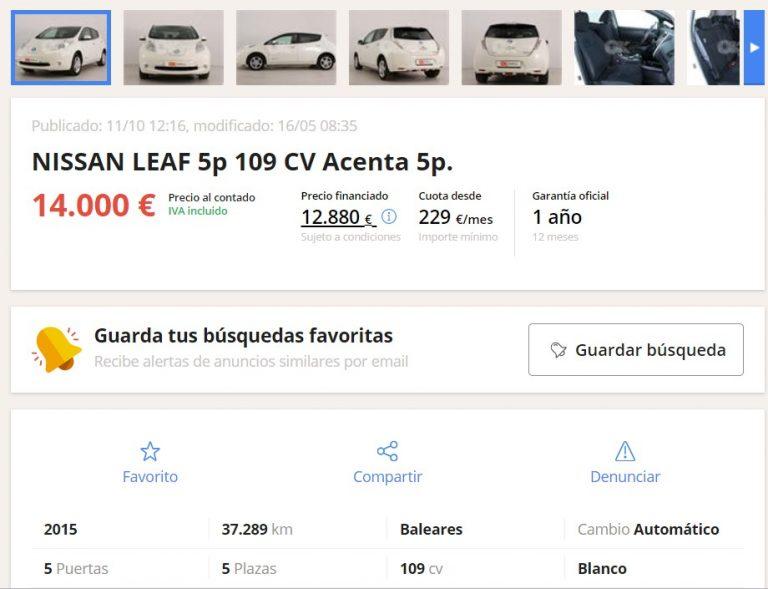 coches electricos precio segunda mano