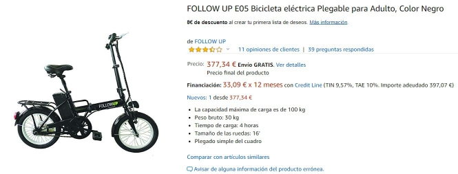 Amazon bicicleta plegable