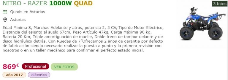 quad electrico 1000w